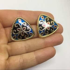 Vintage retro large stud post earrings gold blue